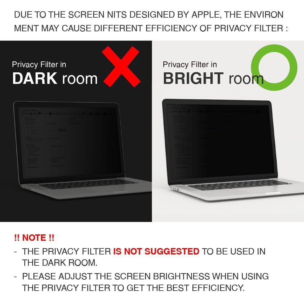 SenseAGE Anti-Blue Light Privacy Screen Protectors Filter for Apple Macbook Air 11.6'' Retina Display by SenseAGE (Image #7)
