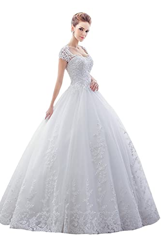 Sisjuly Women's Lace Sweetheart Open Back Short Sleeve Ball Gown Wedding Dress