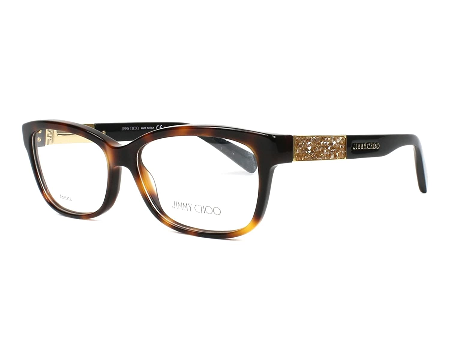 3ca71685d14 Amazon.com  JIMMY CHOO Eyeglasses 110 06VL Havana Black 53MM  Shoes