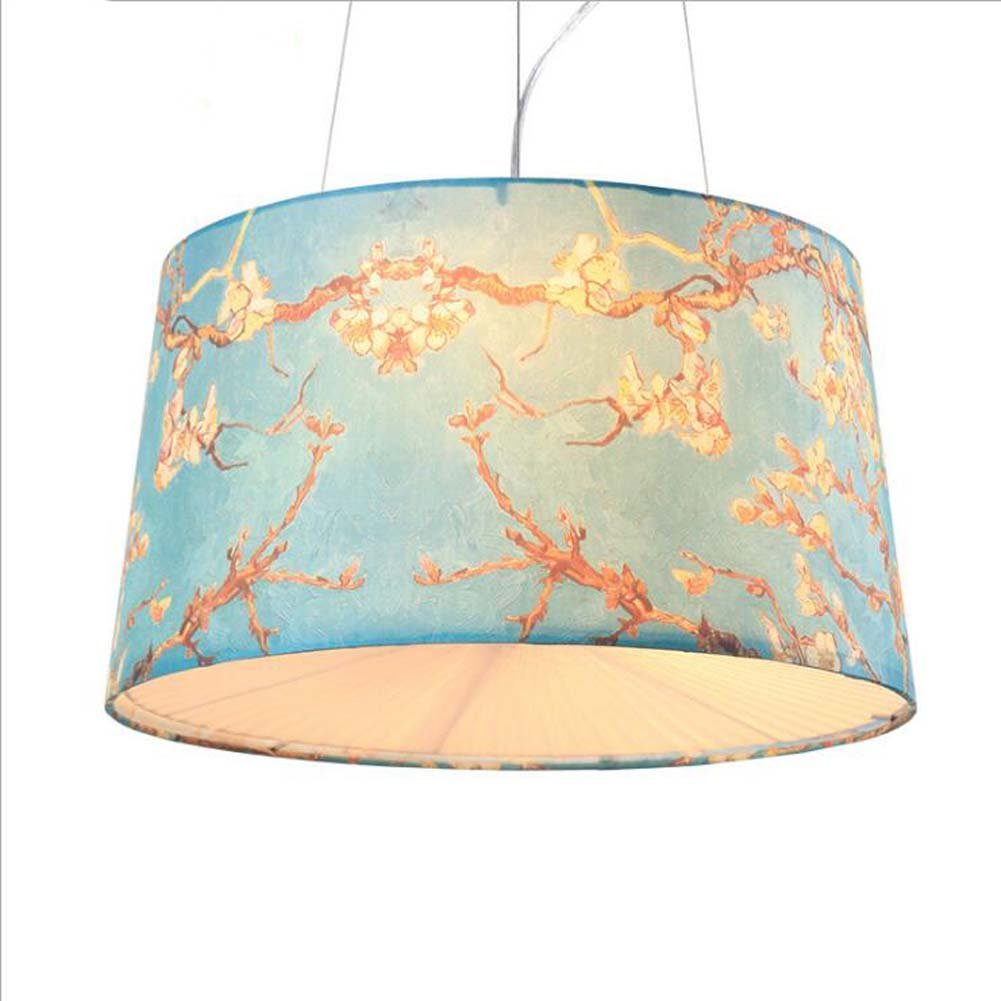 Moderne Kronleuchter, Nordic gedruckt Tuch Schatten Pendelleuchte, kreative Persönlichkeit Wohnzimmer Esszimmer Schlafzimmer Kunst Pendelleuchte 111V  240V, E27  3 YDYG (Farbe   Blau)
