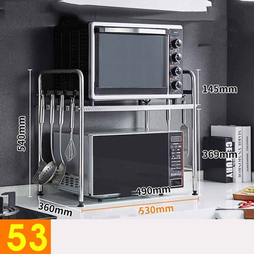 HUO Microwave Oven Rack Single-Layer Floor Storage Rack Kitchen Storage Rack Multifunction (Color : 53cm)