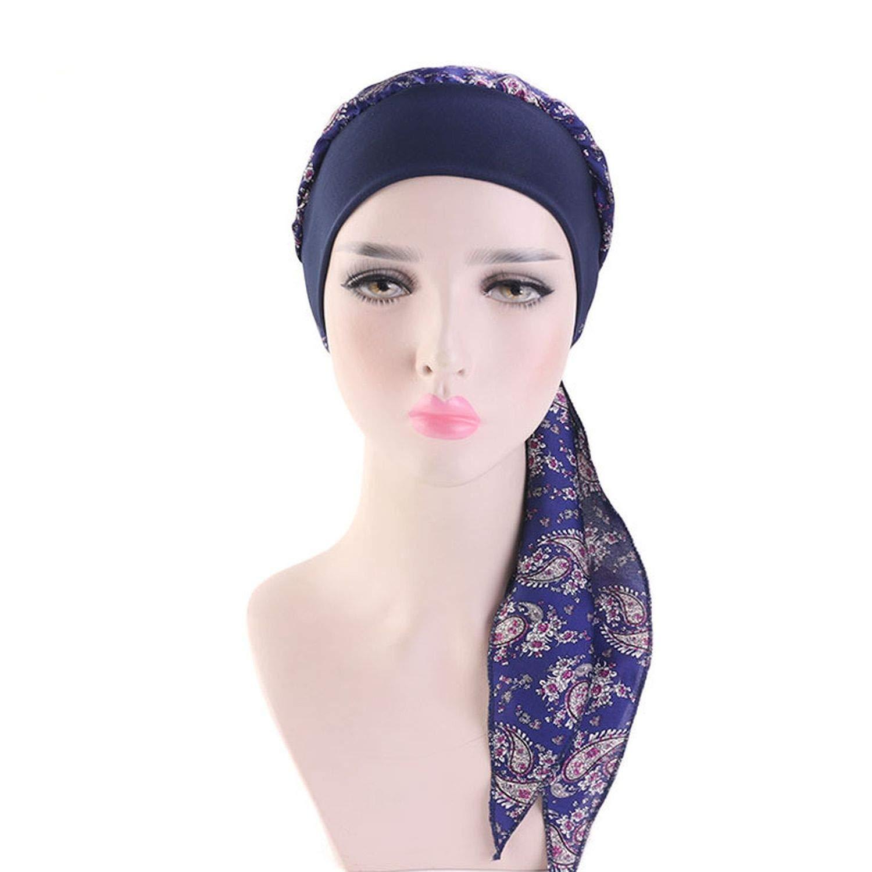 Women Silky Elastic Muslim Headband Head Scarf Flowers Printed Long Tailed Turban Summer Beach Holiday Headwraps
