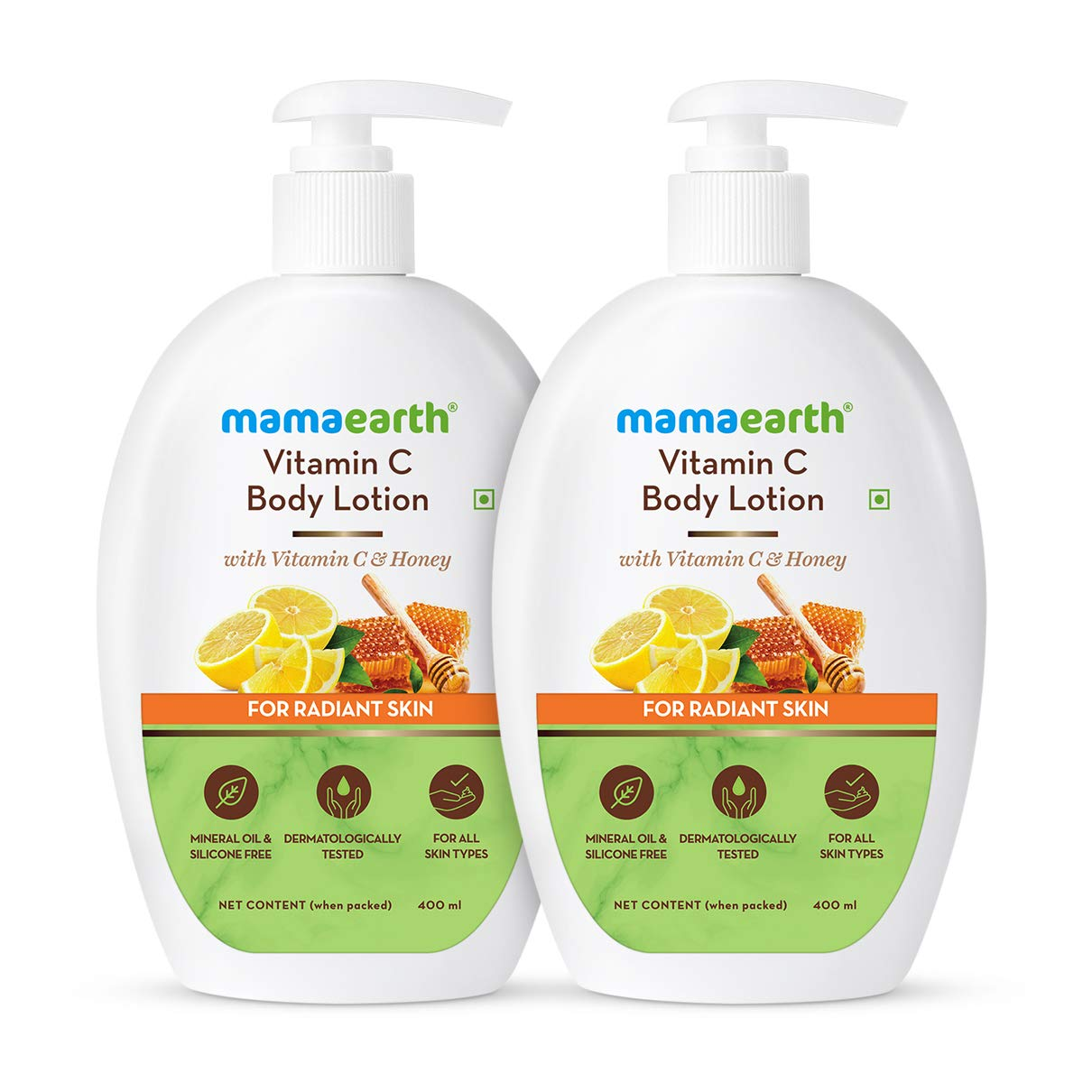 Mamaearth Vitamin C Body Lotion - Pack of 2 (400 ml * 2)