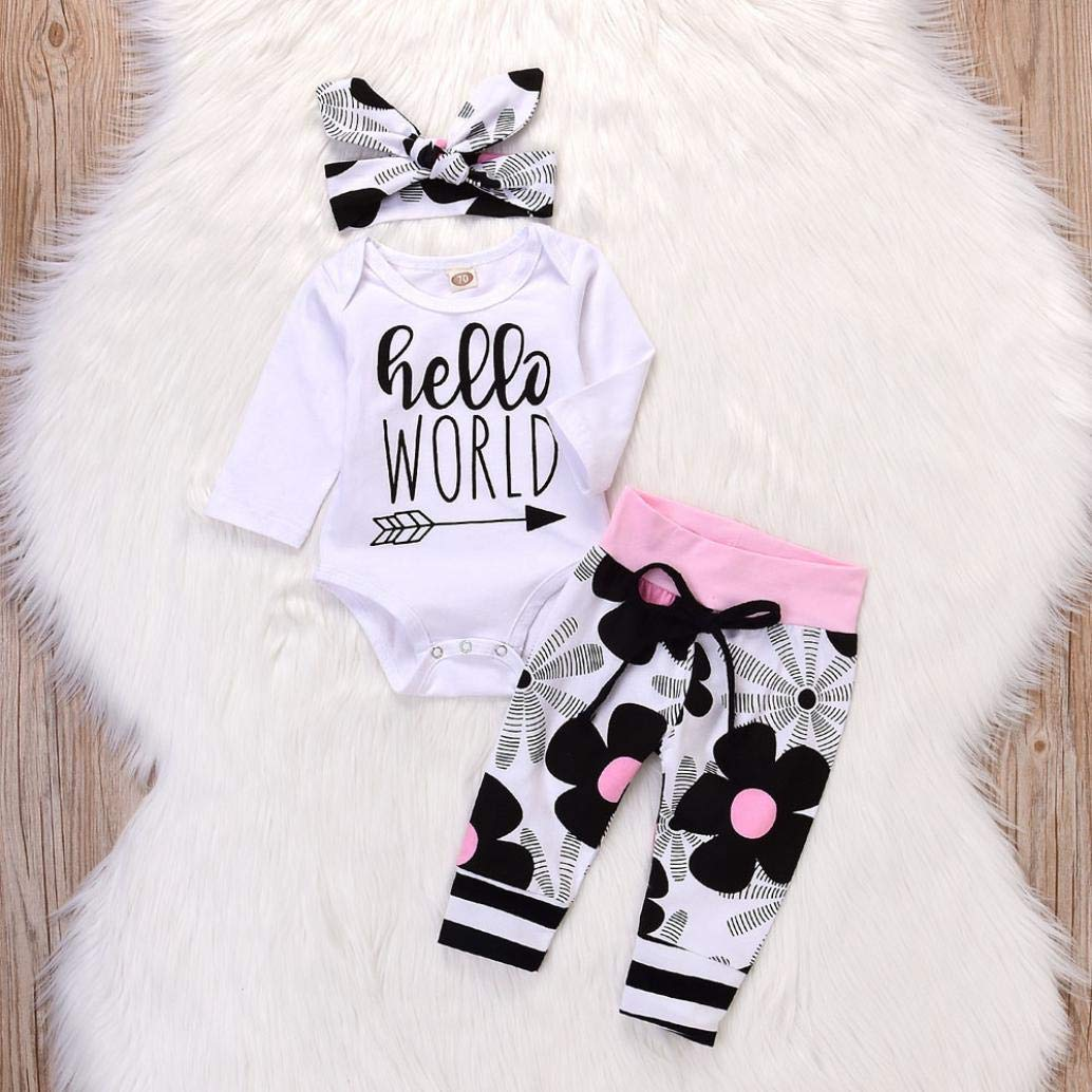 Halloween Baby Outfits,Fineser 3Pcs Newborn Baby Girl Letter Floral Print Romper Jumpsuit Pants Halloween Clothes Sets