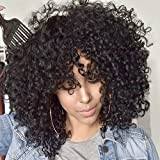 AISI QUEENSAISI QUEENS Afro Wig Synthetic Kinky Curly Wig for Women Dark Brown Curly Hair with Bangs 2 Tone Brown Mixed Blonde Color African Short Wig for Black Women