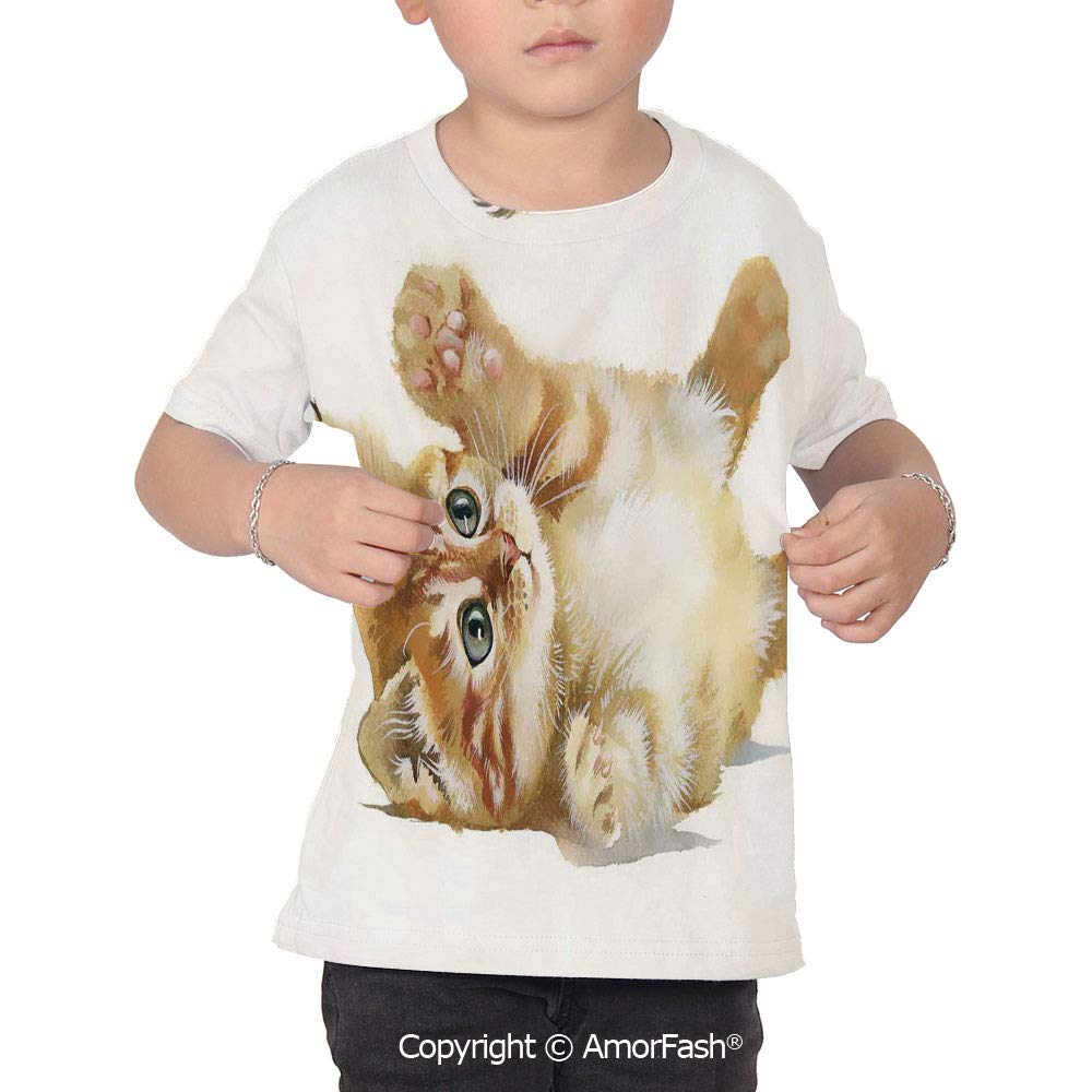 Animal Colorful Boys and Girls Soft Short Sleeve T-Shirt,Cute Cat Playing with F