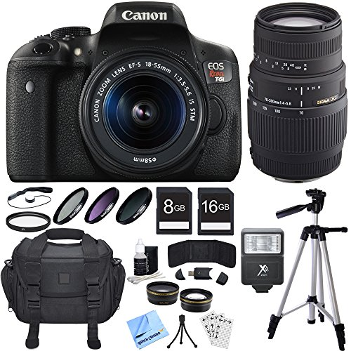 Canon EOS Rebel T6i DSLR Camera w/ 18-55mm and 70-300mm Lens Bundle includes Rebel T6i, 18-55mm Lens, 70-300mm Lens, 16GB + 8GB SDHC Memory Cards, Bag, Tripod, Beach Camera Cloth and More