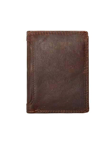 9c73d59b0c Kronen Soehne uomo vera pelle cerniera portamonete bifold portafogli con 2  finestre di identificazione marrone KWA001: Amazon.it: Abbigliamento