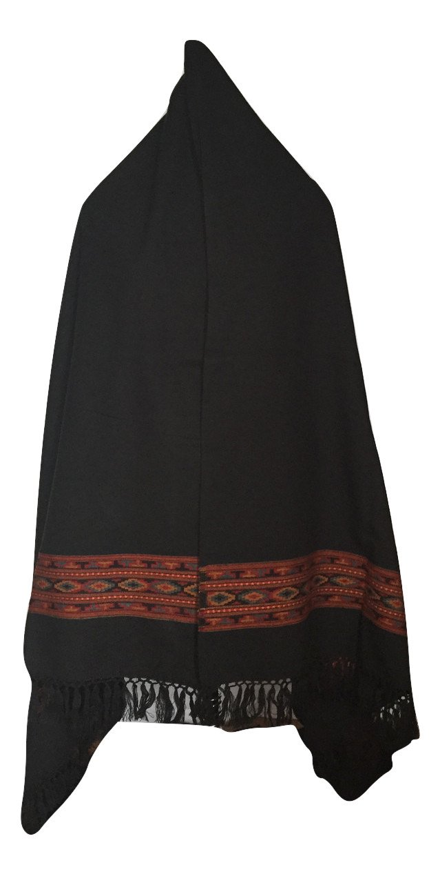 Women's Tibetan Style Shawl with One Kullu Style Stripe (Black) by Himalayan Collective