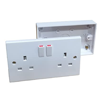 double wall socket & back box pattress  twin 2 gang switched plug electrical:  amazon co uk: diy & tools