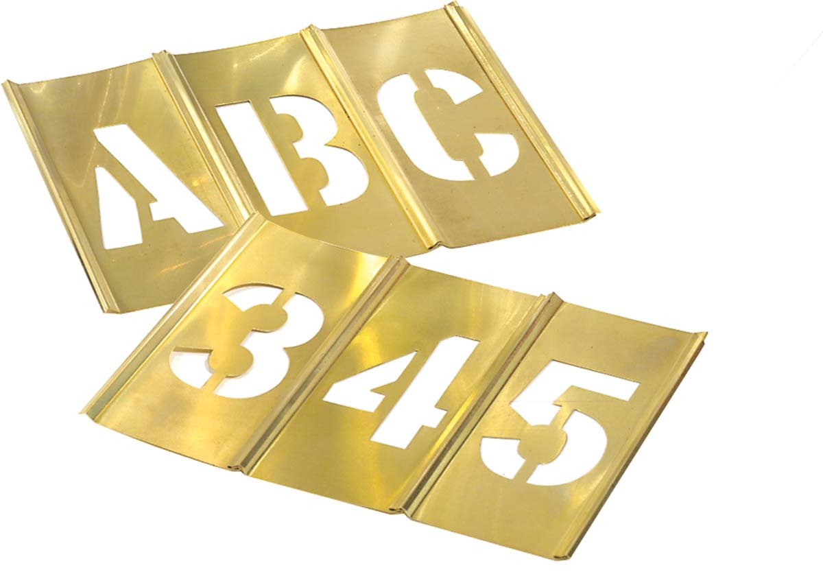 Brass Stencil Letter & Number Sets - 2 1/2'' 92 pcs set gothic style lette