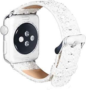 KuToo for iWatch Band, 3D Bling Glitter Leather Watch Band Wristband Bracelet Strap For Series se/6/5/4/3/2 Smart Watch Strap Acessory (42mm White)