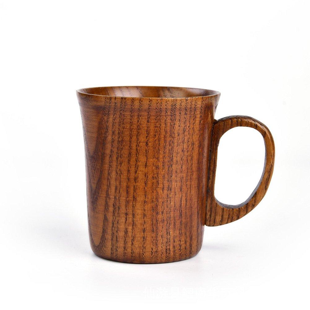 HaloVa Mug, Premium Natural Solid Wood Tea Cup, Creative Handmade Round Wooden Teacup for Coffee Tea Milk Decoration, 10 Ounce