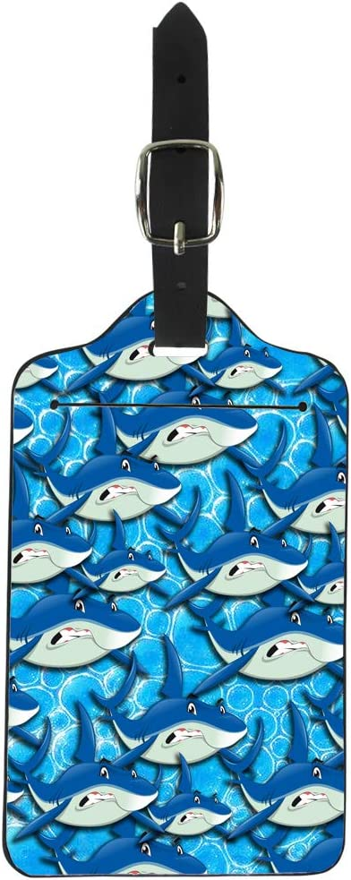 Upetstory Luggage Tags Pu Leather Blue, Cute Cartoon Shark Printed Suitcase Label for Women Kids - Traveler Gift