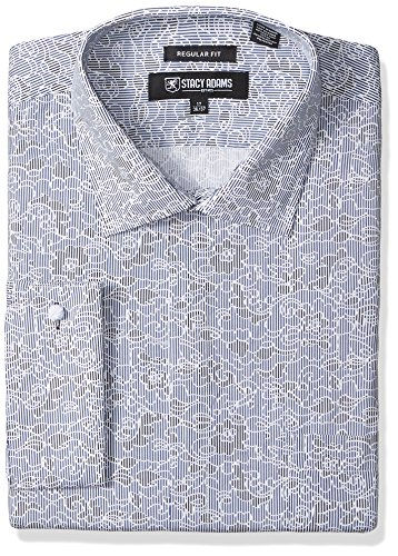STACY ADAMS Men's Big and Tall B & T Floral Sketch On Mini Stripe Classic Fit Dress Shirt, Charcoal, 18