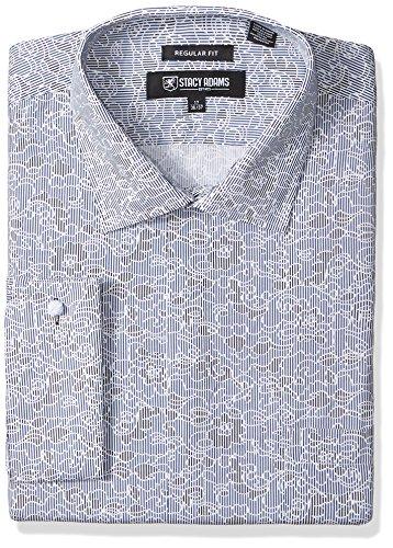 STACY ADAMS Mens Big and Tall B & T Floral Sketch on Mini Stripe Classic Fit Dress Shirt