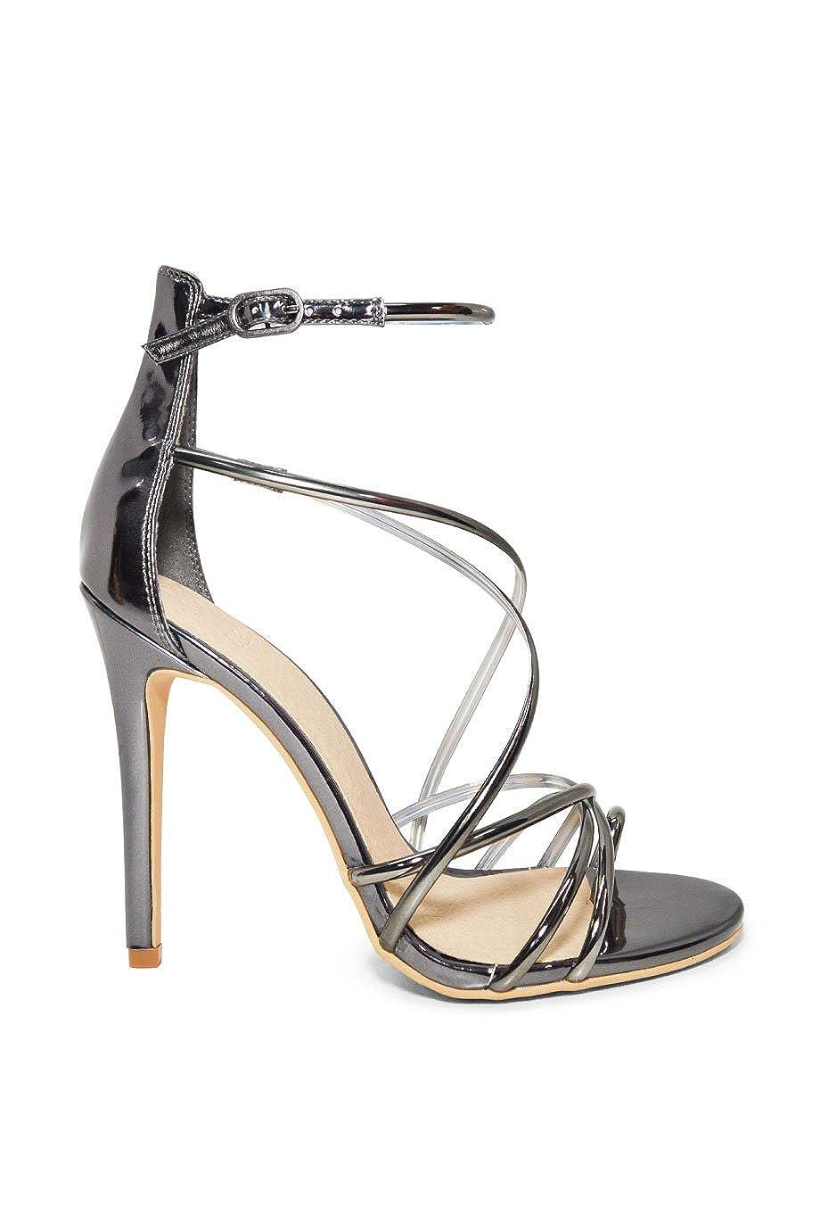 25ee3846896 Beast Fashion Pia-01 Pewter Stiletto High Heel Sandal
