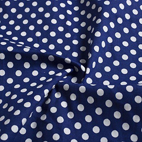 Plaid Polka Dark Womens Dot Casual Retro 1950s Dress Wenseny Sleeve Cap Rockabilly Blue Dress CqIw6aE