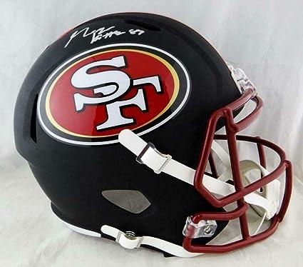 197fe898 Amazon.com: George Kittle Signed Helmet - Fran Flat Black Beckett ...