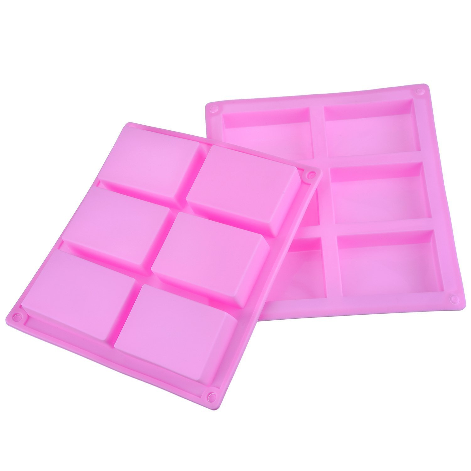 6 Cavity Silicone Rectangle Mold Soap Mold for Cake, Bread, Biscuit, Chocolate, 2 Pack (Pink) Outus