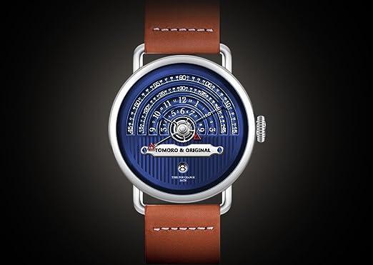 Tomoro Original creativo Visualización de la hora reloj de cuarzo de Vogue hombres marrón cuero Geuine: Zoro.zhang: Amazon.es: Relojes