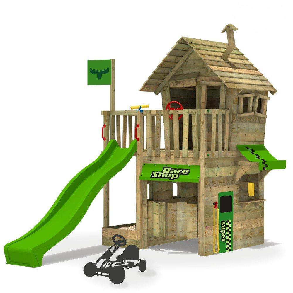 FATMOOSE Kletterturm RebelRacer Spielturm Baumhaus Spielgerät Garten mit apfelgrüner Rutsche