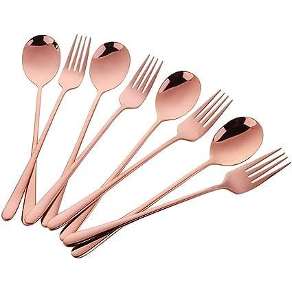 Buyer Star 8 piezas Oro rosa Conjunto de cucharas y tenedores de postre Inox Cuchara Tenedor