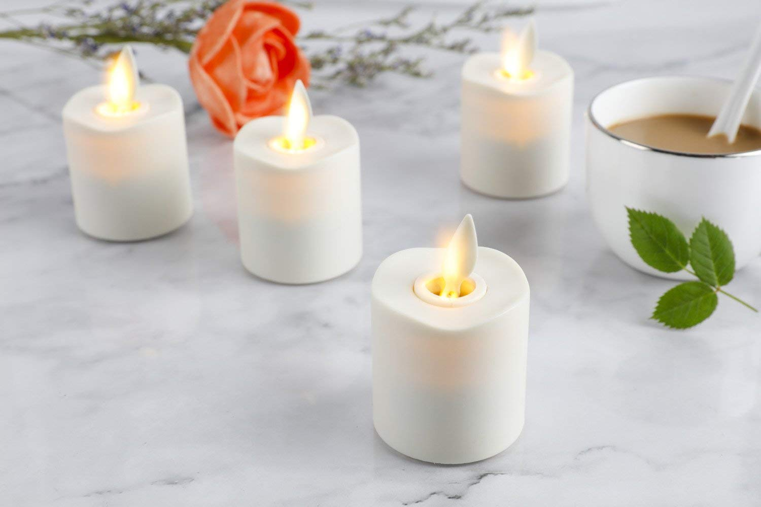 Set of 6 Battery Operated Flameless Votive Candles with Remote and Timer , 1.5 X 2.4in, 6- CR2450 batteries (Free) Last 120 hours by NONNO&ZGF (Image #5)