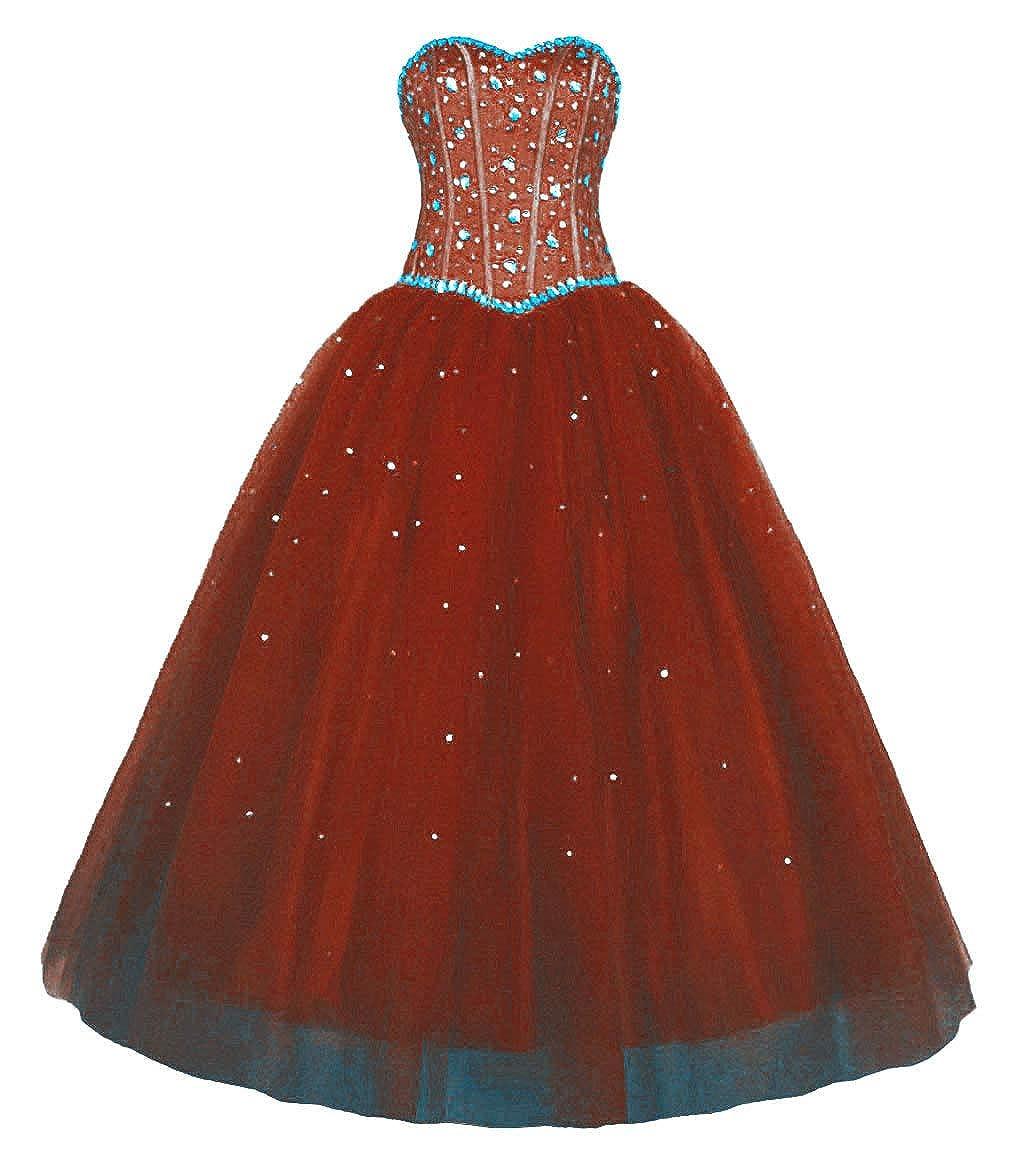 Burgundy Vantexi Women's Sweetheart Rhinestone Tulle Long Evening Prom Dresses
