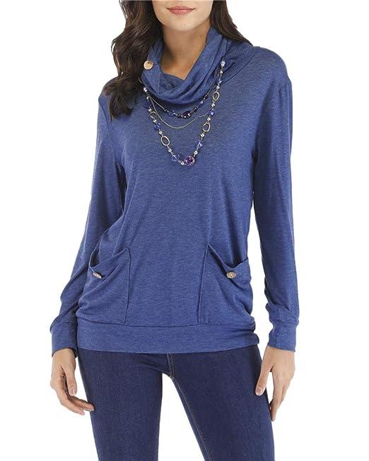 Kuncg Blusa Mujer Color Sólido Camisas Manga Larga Camisetas Cuello Alto Pullover Tops con Bolsillo (