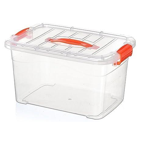 Caja grande organizadora para almacenaje de plástico transparente con tapa, plástico, ...
