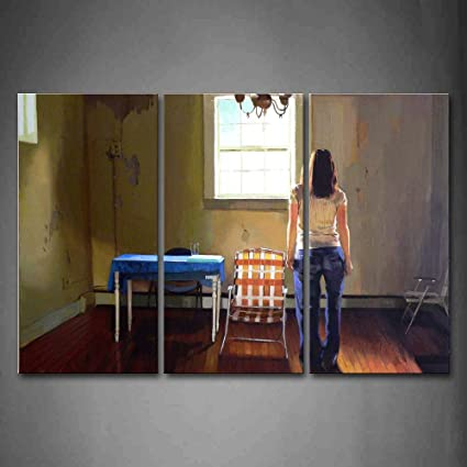 Mujer estancia en la casa sola pared arte pintura fotos impresión sobre lienzo personas la imagen para el hogar moderno decoración: Amazon.es: Hogar