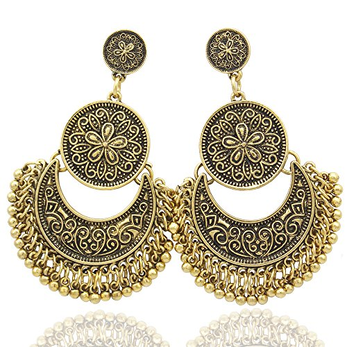 RechicGu Vintage Gold Ethnic Bali Jhumka Jhumki Gold Brocade Lotus Mexico Gypsy Dangle Earrings with Gift Box]()