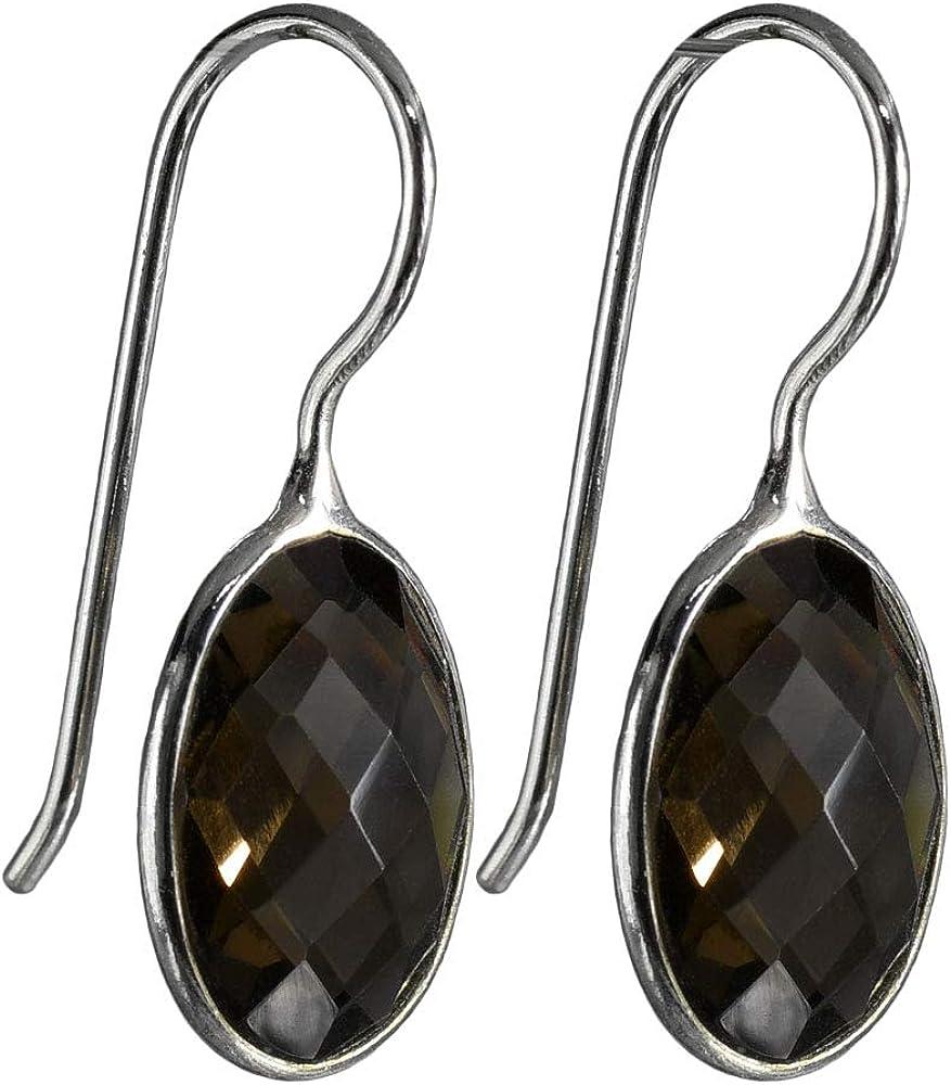 I-be 395022S - Pendientes de cuarzo ahumado con piedras preciosas facetadas, ovalados, plata 925, longitud total: 2,8 cm, en estuche de regalo