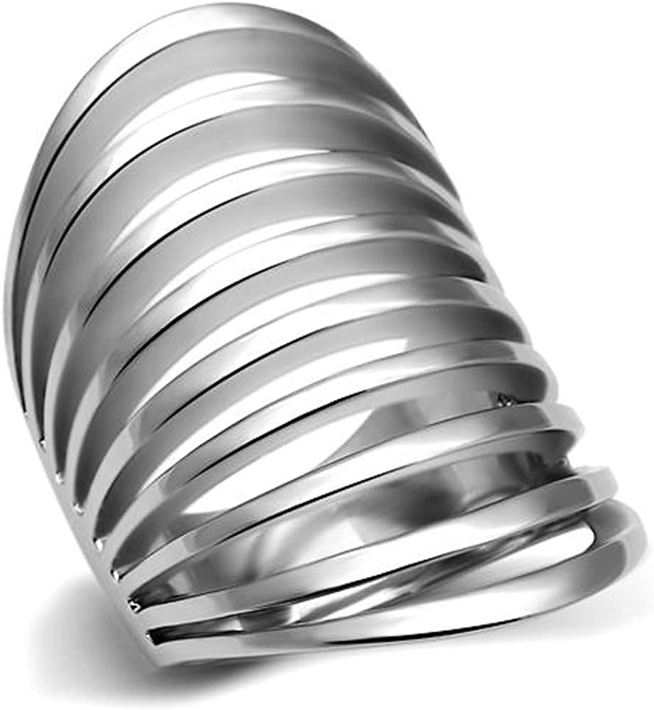 Marimor Jewelry Women's Stainless Steel 316 High Polished 33Mm Wide Fashion Ring