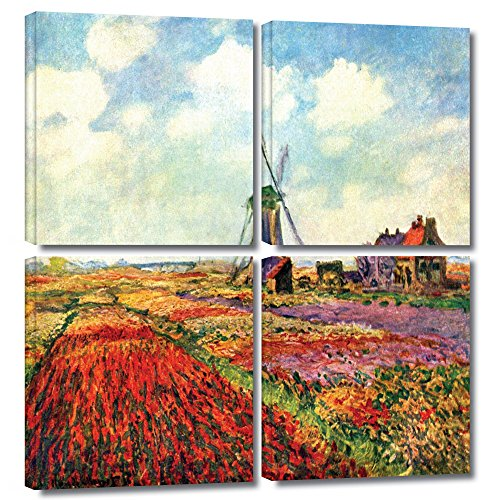 UPC 640823004559, ArtWall 'Windmill' 4-Piece Gallery-Wrapped Canvas Art by Claude Monet, 36 by 36-Inch