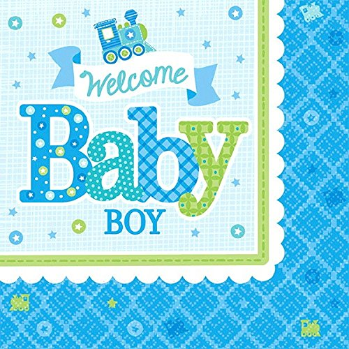 (Welcome Little One - Boy Beverage Napkins Baby Shower Party Tableware, 16 Pieces, Made from Paper, by Amscan)