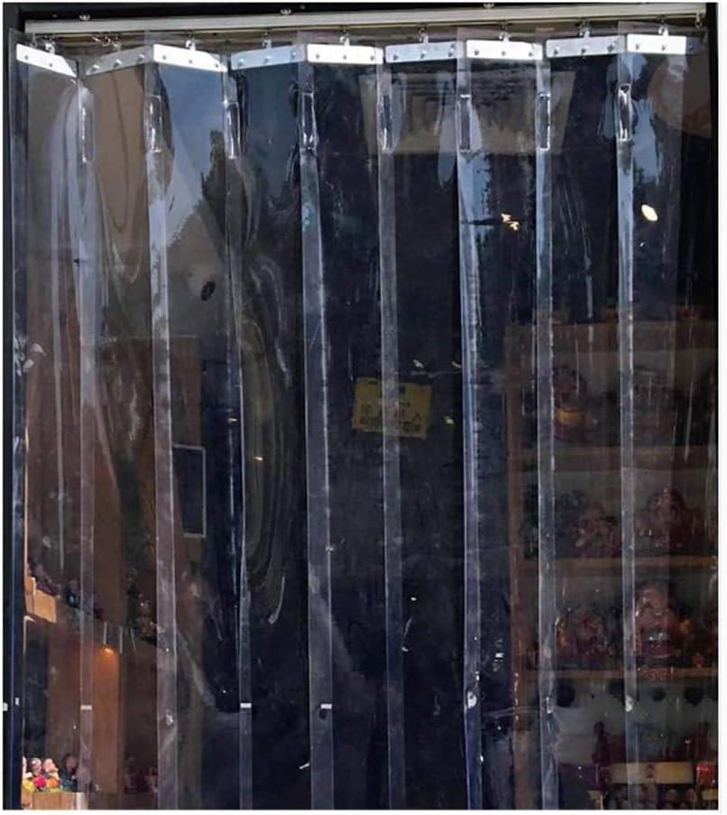 LJIANW Cortina para Puerta Tiras PVC, Plegable Empujar Y Tirar Deslizante Cortina Invierno Mantener Caliente Aislamiento Insonorizar, Cortina De Partición, Fácil De Instalar