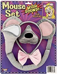 Animal Costume Set Gray Mouse Ears Nose Tail with Sound Effects