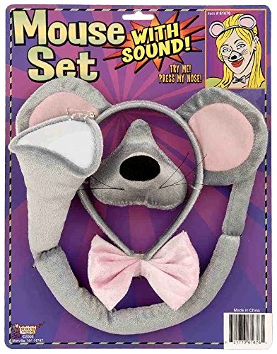 Rat Costume Ears (Forum Novelties Animal Costume Set Gray Mouse Ears Nose Tail with Sound)