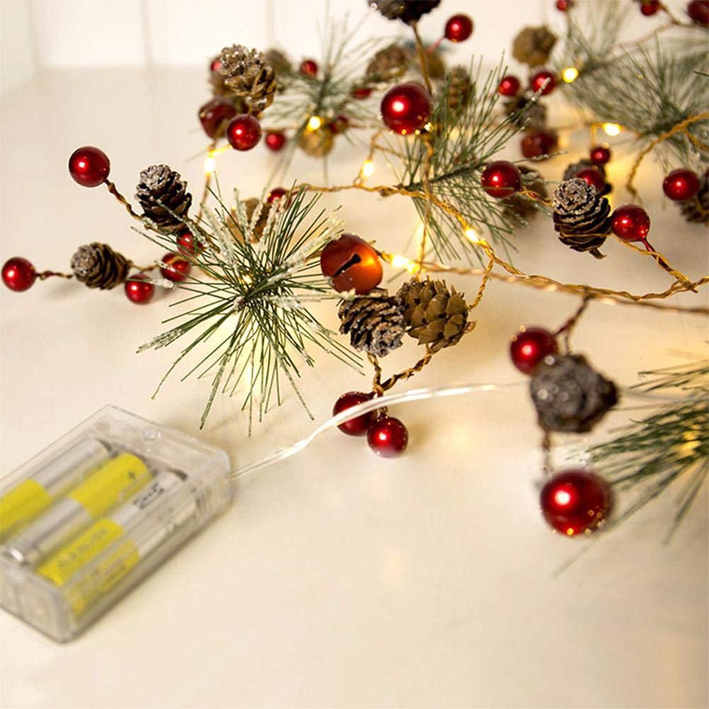 2M Christmas Lights LED Copper Lights Pine Cone String Lights for Christmas Tree and Home Decoration iBaste_S