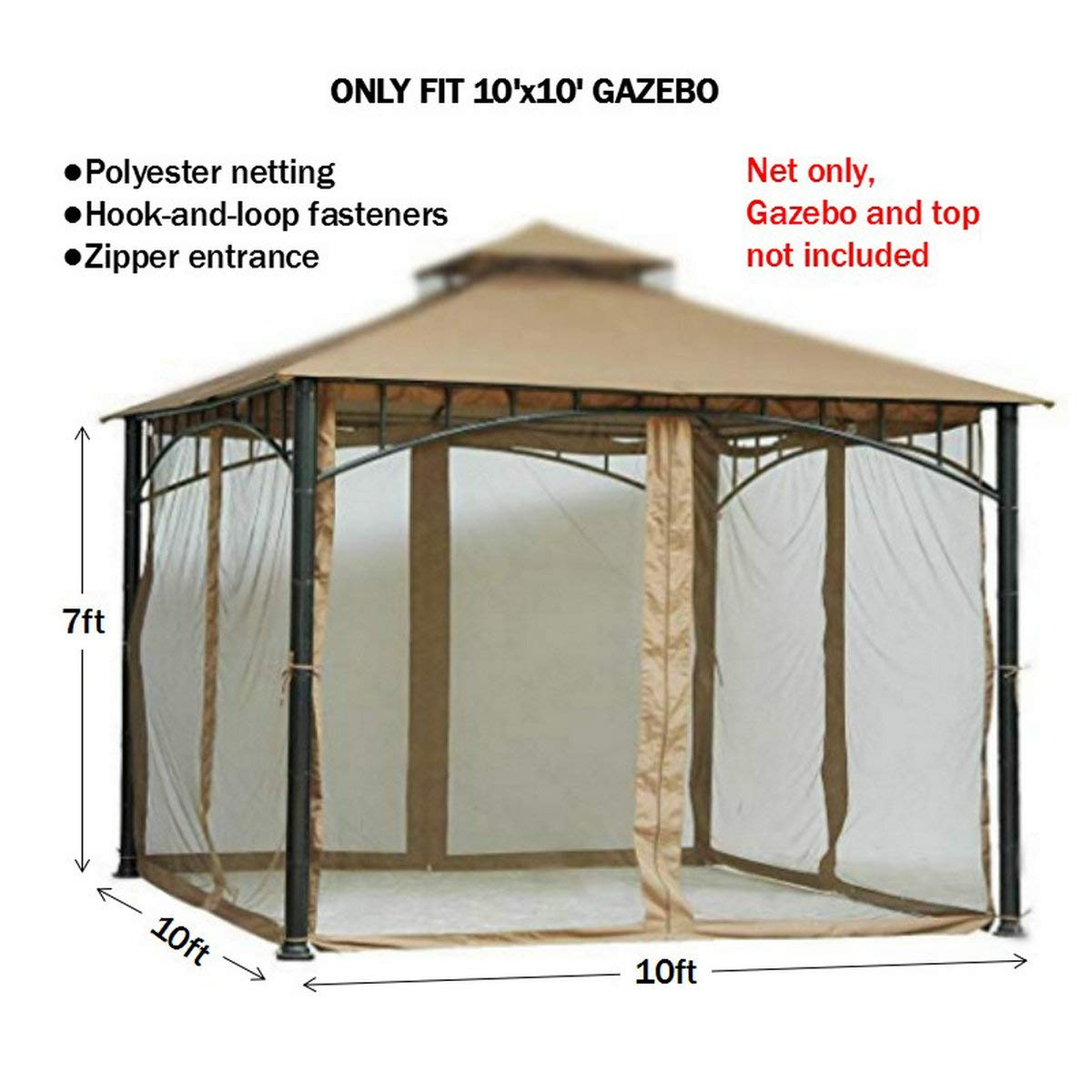 Replacement Mosquito Netting for Gazebo Size 10ft x 10 ft (Gazebo Mosquito Net Only) by PierSurplus (Image #2)