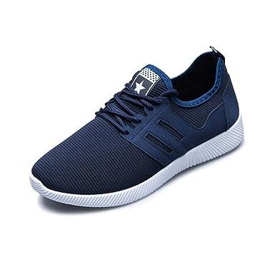 Zapatillas Deporte Hombre❤️ZARLLE Zapatos para Hombres Casual Zapatos De Gimnasio Cruz Atado De Zapatos para Correr Zapatos De Negocios Hechos A Mano ...