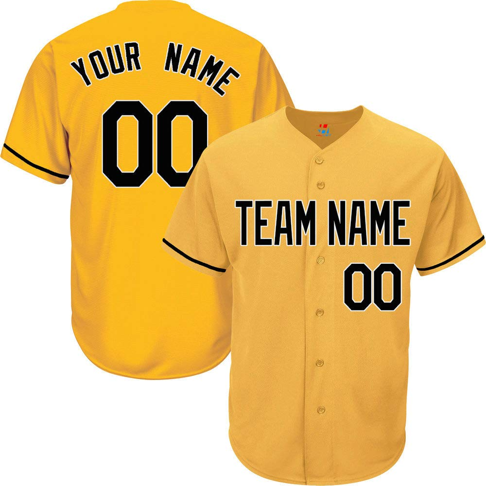 Yellow Custom Baseball Jersey for Men Button Down Embroidered Team Player Name & Numbers,Black-White Size S