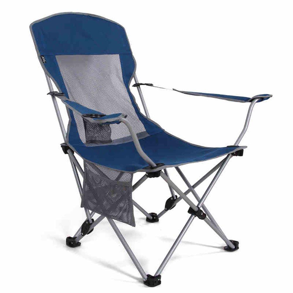 屋外ポータブル折りたたみ椅子椅子ビーチチェア90°-130°調節可能なスケッチラウンジシエスタラウンジチェア (色 : 青) B07DNMRT8D 青 青