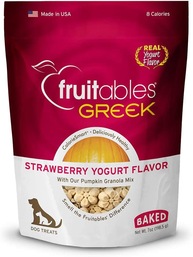 Fruitables Healthy Dog Treats Strawberry Yogurt Flavor | Made with Pumpkin for Dogs | Low Calorie Treats for Dogs