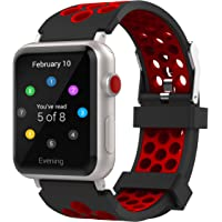 Tecand Apple Watch Waterproof Sport Replacement Wristband in 38mm (Two-Tone Holes Design, Red)