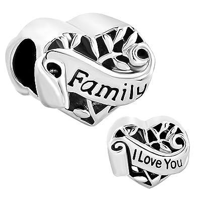 c6711f32f I Love You Filigree Heart Family Tree Charms Beads fit Chamilia Pandora  Bracelet: Amazon.co.uk: Jewellery
