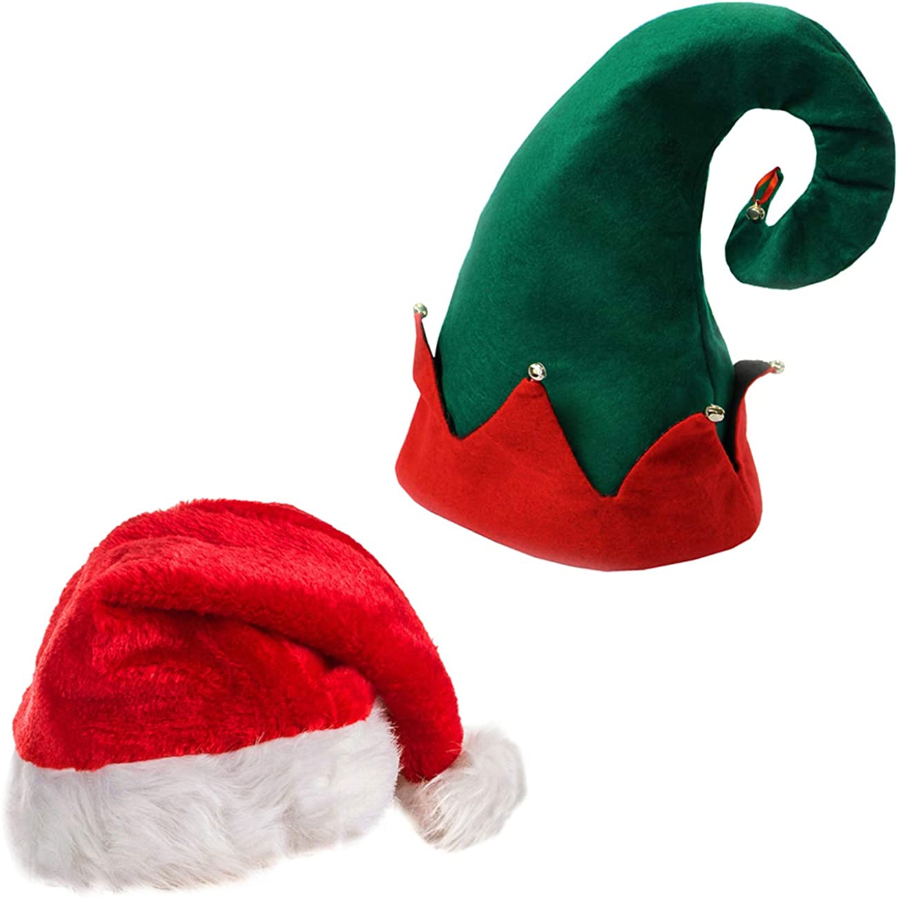Plush Adult Christmas Hat w// Bells for Parades Santa Hat with Reindeer Antlers