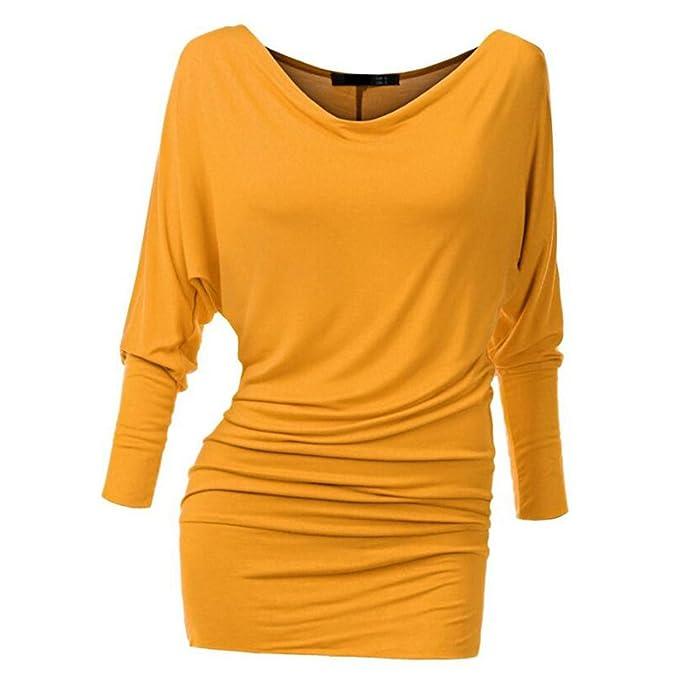 Manga Larga Camisetas para Mujeres - Elegante Shirt Moda Cuello V Blusa Color Sólido Slim Fit Camiseta Streetwear Tops para Primavera y Otoño: Amazon.es: ...